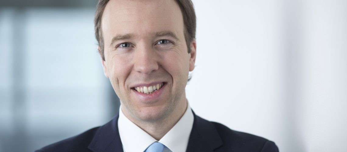 Matthew Hancock, the U.K. Conservative party's business and energy minister, poses for a photograph following a Bloomberg Television interview in London, U.K., on Monday, Jan. 5, 2015. The ruling Conservative Party is lining up investors to kick-start fracking across swathes of rural Britain, and challenge opposition from the village halls and country estates in its political heartland. Photographer: Jason Alden/Bloomberg via Getty Images